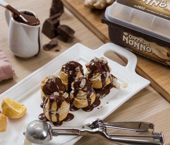 Profiteroles di Caffè al Cioccolato e Zenzero